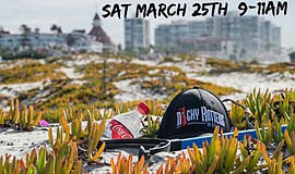 Promotional graphic for the Coronado (North Beach) clean up hosted by Nicky R...