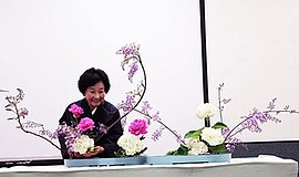 Ikebana arrangement demonstration by Grandmaster Akiko Bourland. Courtesy of ...