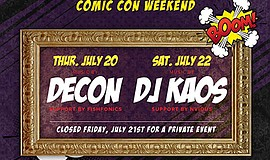 Promotional graphic for the Comic-Con kickoff party With Decon. Courtesy of O...