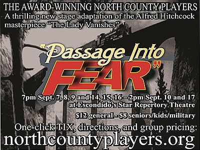 "Promotional flyer for ""Passage Into Fear."" Courtesy of North County Players."