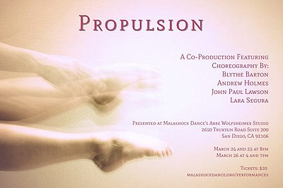 A promotional poster for Malashock's Propulsion dance performance.