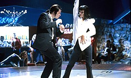 """Promotional screenshot from the film, """"Pulp Fiction"""" (1994), showing Vincent ..."""