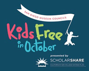 Promotional graphic for the Kids for Free special offer in October presented by San Diego Museum Council and Scholarshare