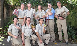 Promotional photo of staff with animals. Courtesy of the San Diego Zoo.