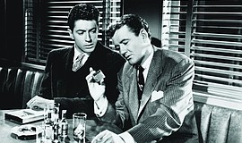 "Farley Granger and Robert Walker in ""Strangers on a Train"" (1951)."