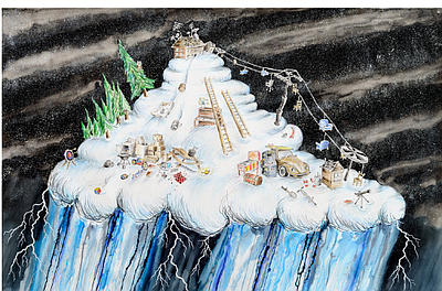 Cloud with Chairlift and Magic Lamp, Mixed media on paper...
