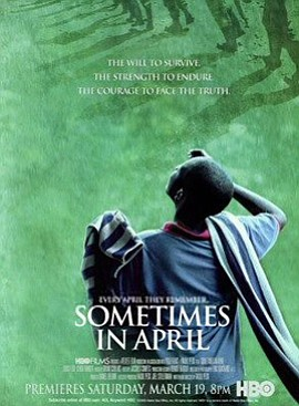 "Promotional film poster for ""Sometimes in April."" Directed by Raoul Peck."