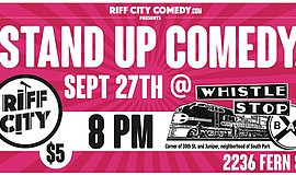 Promotional graphic for Stand-up at the Whistle Stop Bar