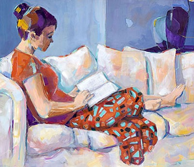 """Promotional photo of artwork: """"Studying in Comfort"""" by Vi Gassman. Courtesy of San Diego Watercolor Society"""
