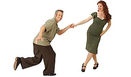 Promotional photo of Joel and Jackie Plys swing dancing, lindy hop. Courtesy ...
