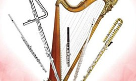 Promotional graphic of flutes for the Valentine Memories Flute & Harp Concert