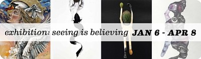 "Promotional graphic for the ""Seeing is Believing"" Group Show. Courtesy of Sparks Gallery."