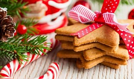 Promotional photo of holiday cookies for the exchange and hot cocoa bar. Cour...