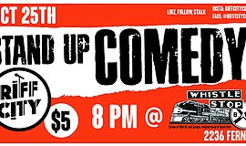 Promotional graphic for Stand-Up Comedy Whistle Stop Bar on Oct. 25, 2017