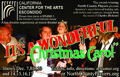"Promotional graphic for ""It's a Wonderful Christmas Carol..."