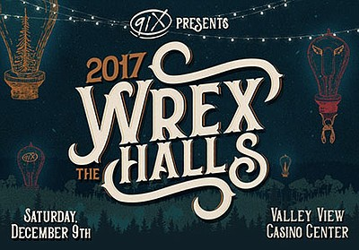 Promotional flyer for Wrex the Halls 2017 (Saturday night...