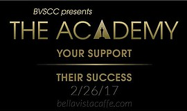 Promotional graphic for The Academy, an Oscars Viewing Party event at The Bel...