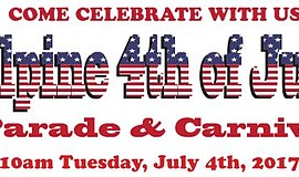Promotional graphic for the Alpine Fourth of July Parade & Carnival.