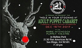 "A promotional poster for ""A Hole in Your Stocking III"" adult puppet show."