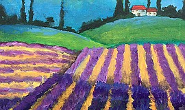 Promotional photo of lavender fields painting. Courtesy of Wine & Canvas.
