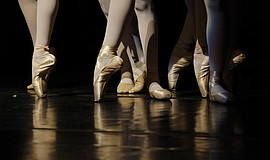 A stock photo of ballet pointe shoes.