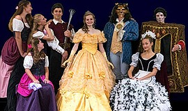 "Photo of the cast of ""Beauty and the Beast."" Courtesy of Ovation Theatre."