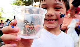 A child holds up a butterfly at the annual Butterfly Release at Balboa Park.