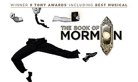 "A promotional poster for ""The Book of Mormon."""
