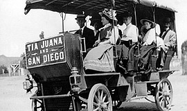 An archive photo of border trolley tours courtesy of the San Diego History Ce...