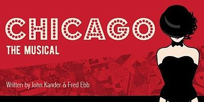 "Promotional graphic for San Diego City College's ""Chicago."""