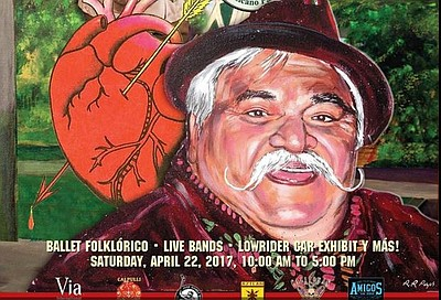 "Promotional flier, featuring an illustration of Ramón ""Chunky"" Sánchez, for the 47th Chicano Park Day Celebration."