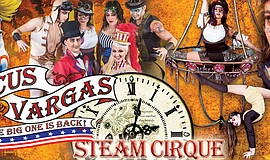 Promotional graphic for the Circus Vargas Steam Cirque.