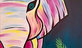 Promotional image of colorful elephant painting. Courtesy of Wine & Canvas.