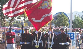 The colorguard at the Santee Salutes at Town Center Community Park.