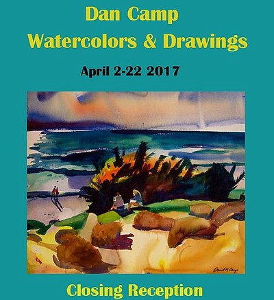 Promotional graphic for the closing reception of Dan Camp's Watercolours and Drawings.