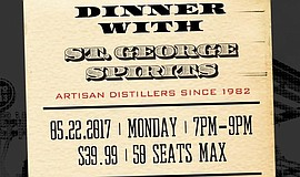 Promotional graphic for St. George Sprits Dinner At Soda & Swine.