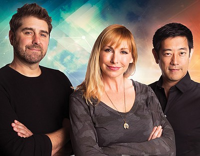 A photo of Kari Byron, Tory Belleci and Grant Imahara, courtesy of Broadway San Diego.
