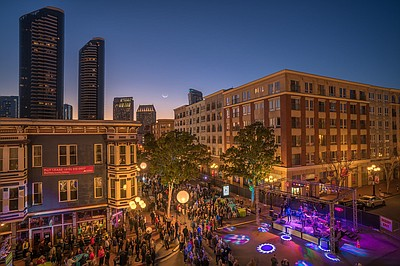 A crowd in Downtown San Diego during the Taste of Downtow...