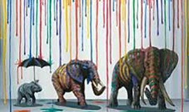 "Photo of art by Michael Summers titled ""Elephant Parade."""