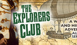 "Promotional graphic for Lamb's Players Production of ""The Explorers Club."""
