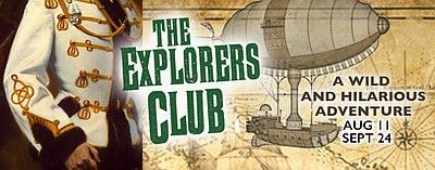 """Promotional graphic for Lamb's Players Production of """"The Explorers Club."""""""