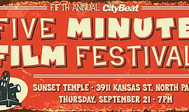 Promotional flyer for Five Minute Film Festival. Courtesy of San Diego CityBeat.
