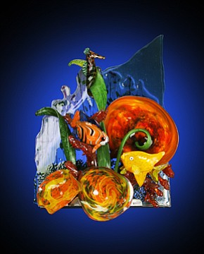 A photo of a Reef Wall Sculpture by glassblowing artist James Stone. Courtesy of the artist.