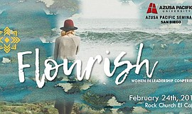 Promotional graphic for the Women in Ministry conference, Flourish.