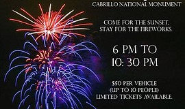 Promotional graphic for 4th of July at Cabrillo National Monument.