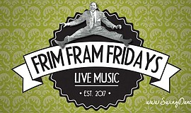 Promotional graphic for Frim Fram Fridays.