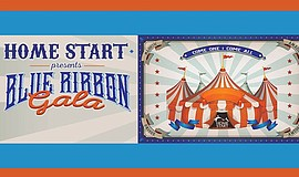 Promotional graphic for Home Start's Blue Ribbon Gala.