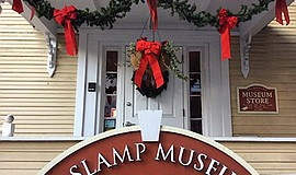 Photo of the holiday decorations at the museum. Courtesy of the Gaslamp Museu...