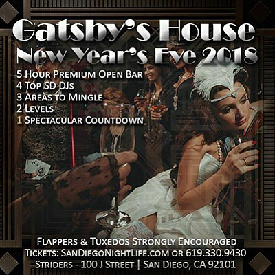 Promotional graphic for Gatsby's House San Diego. Courtes...
