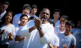 The UC San Diego Gospel Choir performs.